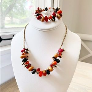 Chico's Bead Necklace Gold Red Orange Bracelet Set